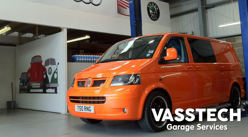 Orange VW inside Vasstech