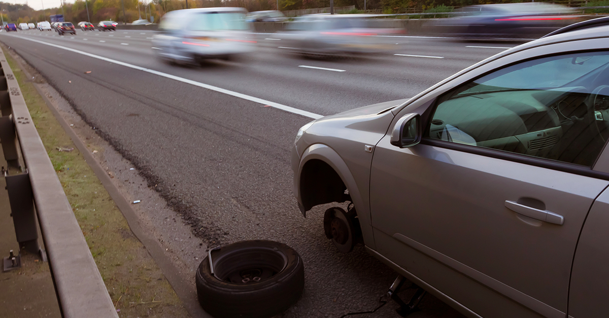 Changing a car wheel on the hard shoulder