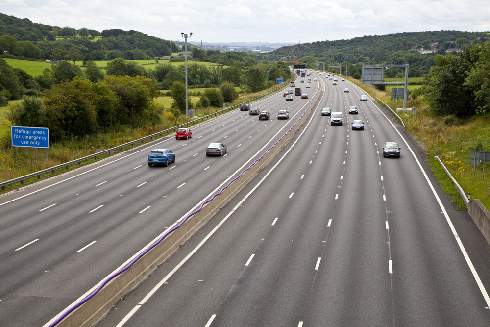 Cars on the motorway on a sunny day