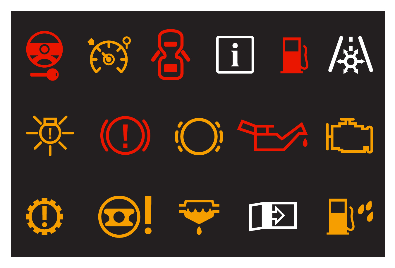 Car light symbols