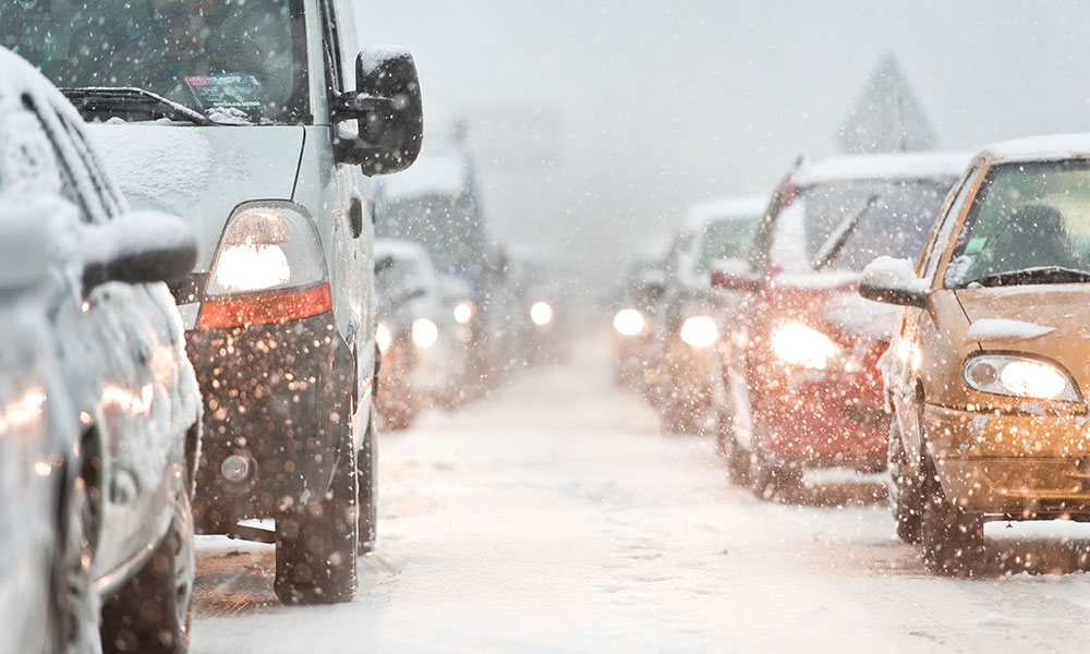 Traffic jam caused by heavy snowfall