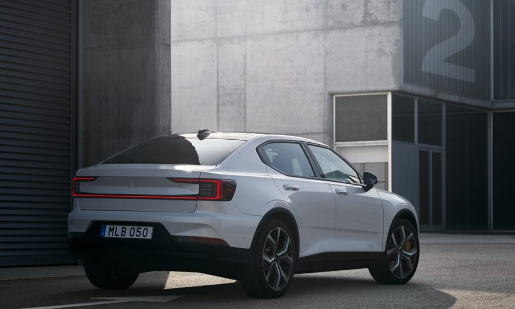 The Polestar 2, on display in an urban environment