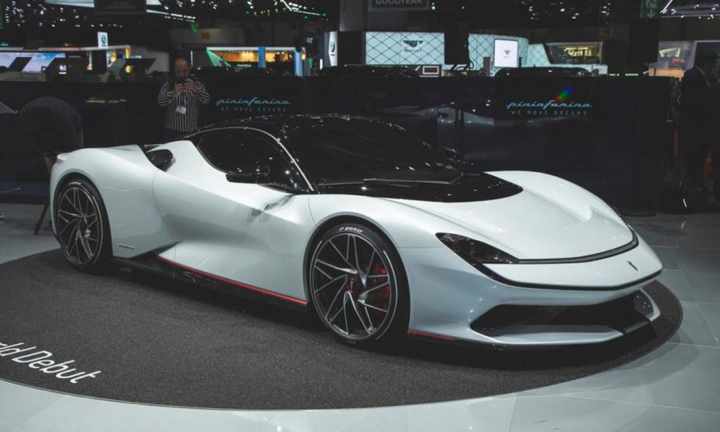 The Pininfarina Battista EV on display at the 114th annual Geneva Motor Show